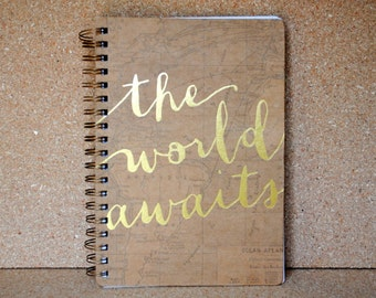The World Awaits World Map and Metallic Gold Lined Journal Spiral Bound Notebook