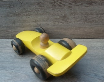 Vintage Wooden Racing Car Toy