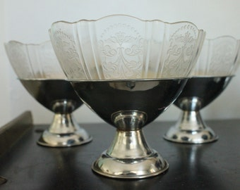 Lovely and UNUSUAL set of 6 dessert bowls clear ornate pressed glass top dish with removable chrome stainless metal base