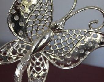 Vintage Butterfly Earring holder, ear ring tree, silver earring rack, butterfly on branch, Revere manufacturing