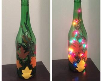 Fall Leaves Wine Bottle Lamp