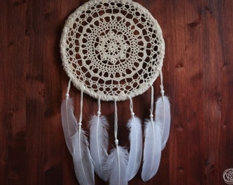 Dream Catcher - Dream about Summer - With White Crochet Web and Pure White Feathers - Boho Home Decor, Nursery Mobile