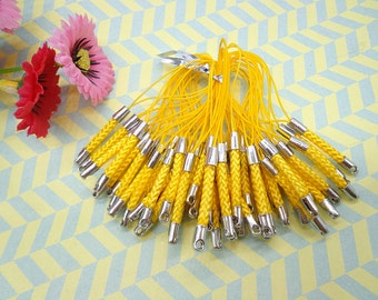 Cell Phone Strap Lanyard--20 pcs 70x3mmYellow Lariat Lanyard Mobile Cell Phone Strap Chains Connectors With Silver Metal Top