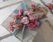 Large thick re-purposed book shabby cottage chic book bundle style spring millinery flowers roses distressed home decor anita spero design