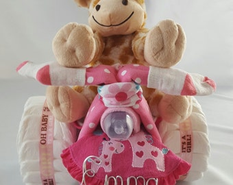 Baby Girl Tricycle Diaper Cake, Diaper Cake, Baby Shower with Personalized Name