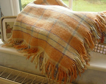 """Small Vintage Welsh Wool Blanket 35"""" x 35"""" Cream Pink with Purple and Blue Stripes"""