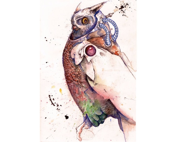 Original Signed Print // Wind-Up Owl Archival Print // Steampunk Fantasy Art