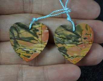 Cherry Creek Jasper Pair, Top Drilled
