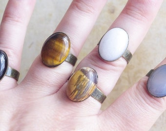 Best selling items, Simple Minimalist Statement Gemstone Ring, Adjustable Stone Jasper Agate Opaline Tiger's eye Every day Ring for her