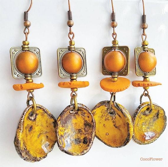 dangle, camel, caramel, rusty, earthy, urban chic, yellowish, rusty brown, rustic earrings