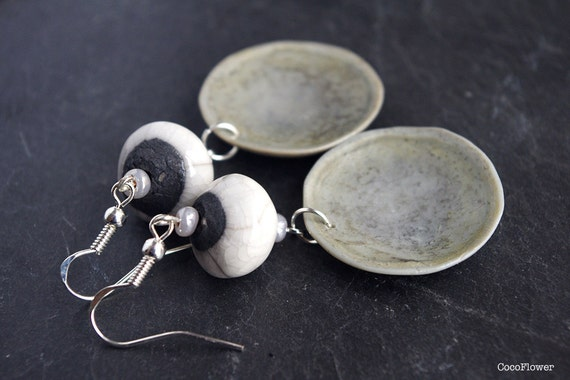 Silver Raku earrings / rustic chic jewelry / Grey White / polymer clay pendant & ceramic bead