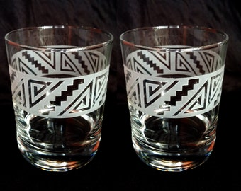 Etched Whiskey/Rocks Glasses- Set of 2