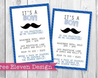 Mustache PRINTABLE Baby Shower Invitation