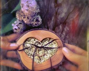 Rustic Ring Bearer Pillow, Wooden Ring Bearer Pillow, Ring Bearer, Wedding Ring Bearer Pillow, Heart Ring Bearer, Country Ring Bearer
