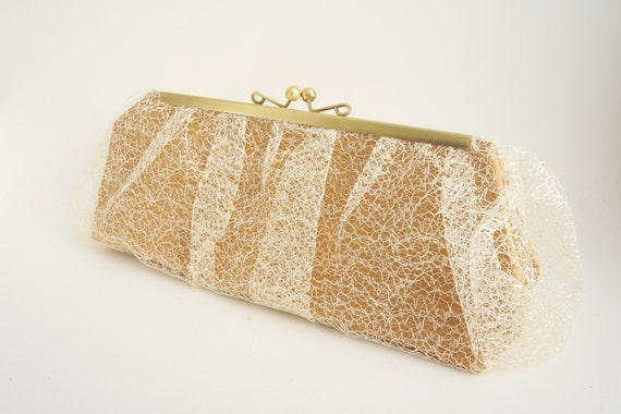 Gold Lace Clutch - Bridal Purse - Lace Evening Clutch Handbag - Bronze - Includes Crossbody Chain - Custom Handmade