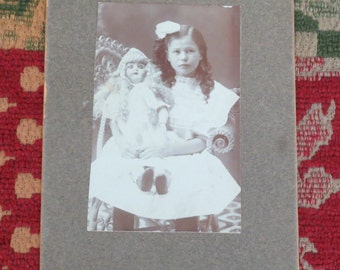 Cabinet Card, Young Girl with French doll, Early 1900s, Victorian photo, Sepia photo