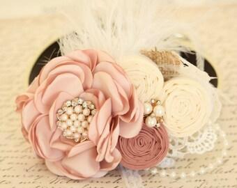 Pearl Blush Flower dog collar, Choker, Pet wedding, Pearls, Rhinestone, Burlap, Feather, Lace, Victorian