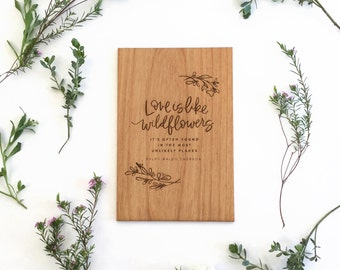 Love Is Like Wildflowers Wood Card [Five Year, Fifth, 5th Anniversary / Custom Anniversary Card / Valentine / Boyfriend or Girlfriend]