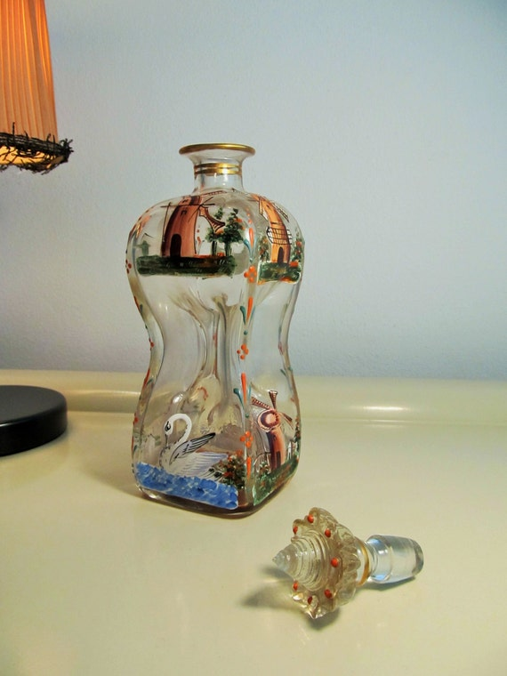 antique dutch danish mosser art glass pinched decanter perfume. Black Bedroom Furniture Sets. Home Design Ideas