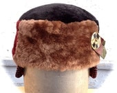 Hand cut and Sewn Lamb Shearling Patchwork Fur Hat Small