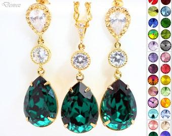 Emerald Green Earrings Necklace Set Green Jewelry Holiday Jewelry Jewelry Sets Swarovski Jewelry Dark Green Jewelry Cubic Zirconia EM31JS