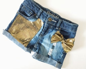 Girls Sparkle glitter jean diy distresed shorts perfect gift, matching mommy top available.