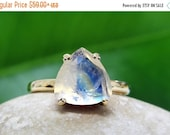 25% OFF SALE - rainbow moonstone ring,semiprecious ring,gold ring,trillion ring,triangle stone ring,gemstone ring,stacking ring