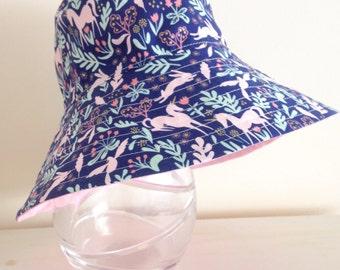 Girls hat in blue unicorn fabric- summer hat, bucket hat