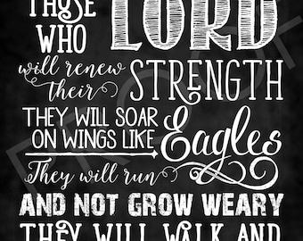 Scripture Art - Isaiah 40:31 (NIV) ~ Chalkboard Style