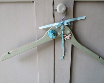 Hand Painted Vintage Style/Shabby Chic Dress Hangers - Blue Grey
