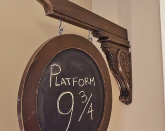 Hanging Chalkboard, Double Sided, Vintage Look Sign, with Carved Wood Corbel