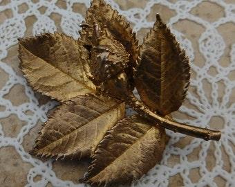 Vintage EGGERT FLORA DANICA Vermeil Sterling Silver Rose Leaf Brooch Denmark
