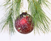 Handpainted ornament burgundy ornament filigree hollyood glamour hand painted holly berries victorian Christmas tree ornament gift under 25