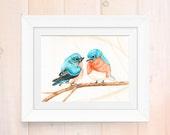 Watercolor print, cuddling bluebird painting, watercolor bluebirds art print, giclee print, home decor, garden artwork, bird lover art print
