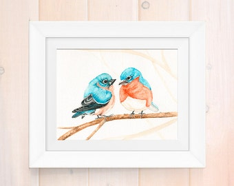 Watercolor print, cuddling bluebird painting, watercolor bluebirds art print, giclee print, home decor, garden artwork, bird lover art print