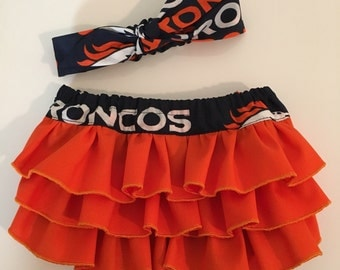 Broncos Infant Ruffled Diaper Cover/Bloomers with knotted headband.