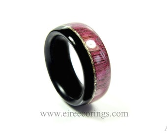 Wood engagement ring Irish bog Oak and purple heart wood