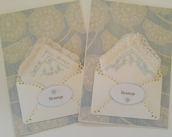 Vintage Wedding Handkerchief Set Lace Edged Serenity Blue Keepsake Bridesmaid Gift Blessings Appreciation Thank You Accessory Hankie Cards
