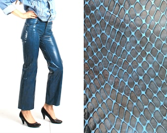 90s Pants / Grunge Pants / Faux Snake Skin / Blue Pants / Vintage Faux Pants / Magic Frog Pants / Woman Pants