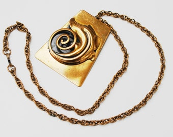 Copper Mid Century Modern Leaf Swirl Pendant and Copper chain Necklace