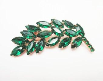 Green Rhinestone Leaf Brooch resin stone gold tone metal pin