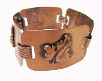 Copper link Bracelet -  wide leaf Panels - Modern -mid century Bangle.