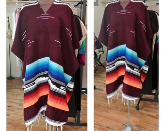 1970s Tribal Print Poncho Jacket Vintage Boho Fringe Oversized Festival Poncho Coat Geo-Tribal Pattern Open Size Maroon Striped Poncho Cape