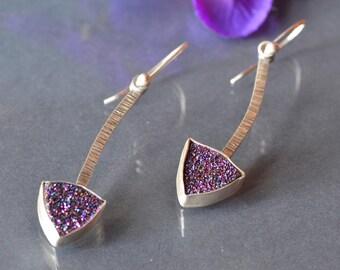 Druzy Metalwork Earrings,  Long Drusy Earrings in Silver, Titanium Drusy Statement Earrings