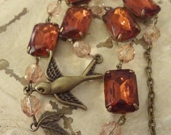 Autumn Sparow Necklace, Anna Wintour Inspired Collet, Assemblage Necklace, Maderia Topaz, French Collet necklace, Golden and Madeira Topaz