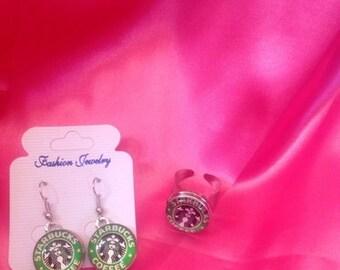Starbucks Earrings and Ring set