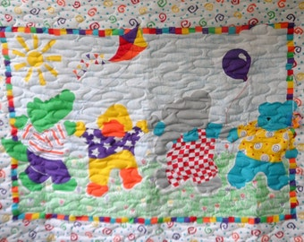 Quilt - Quilted Baby Blanket - Baby Quilt - Gender Neutral Baby Quilt for Boy or Girl - Lets Go Fly a Kite