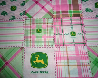 John Deere Pink Plaid Cotton Fabric sold by the Yard