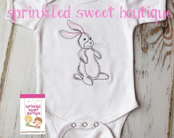 Vintage Embrodiered Bunny Girls Boys Baby Shirt First Easter Shirt or Romper One Piece