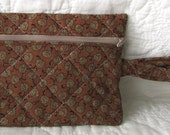 quilted zippered wristlet / travel bag / quilted bag Brown Print